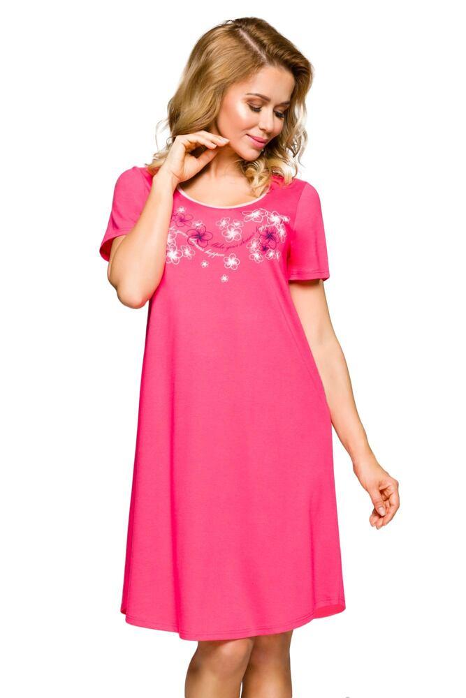 Noční košile Eva růžová s květy velikost M