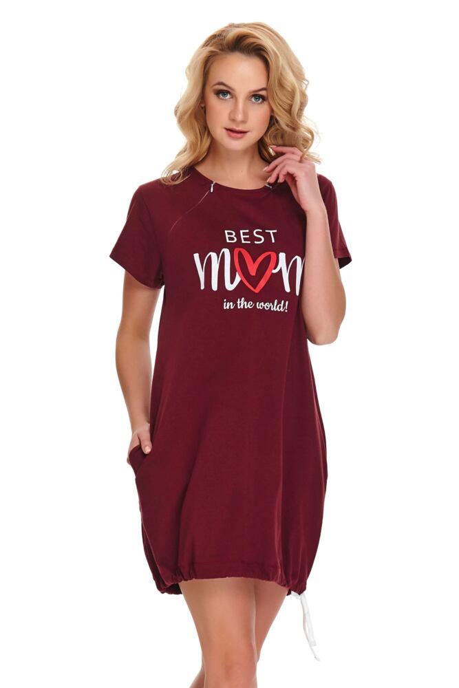 Mateřská noční košile Best mom 2 vínová velikost S