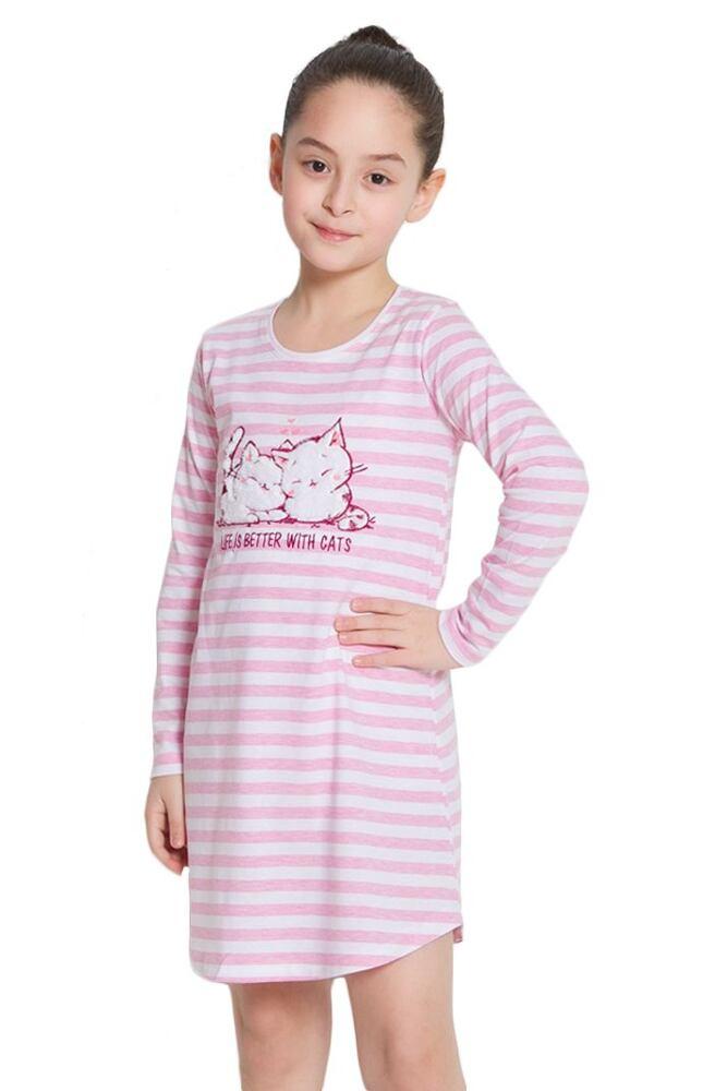 Dívčí noční košile Kitty růžová s pruhy velikost 164