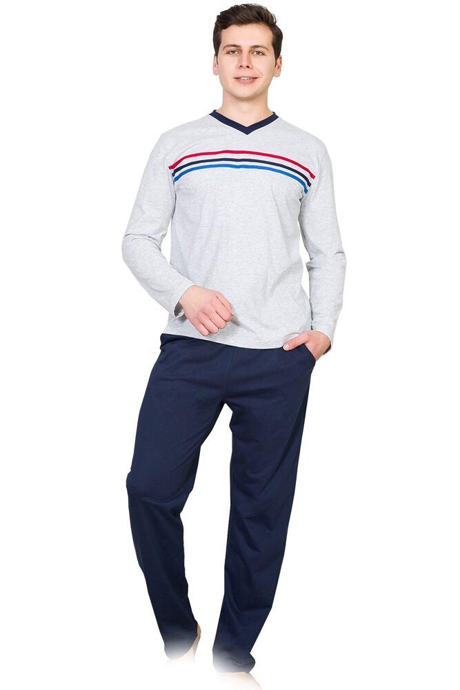 Pánské pyžamo Sully šedé s pruhy velikost L