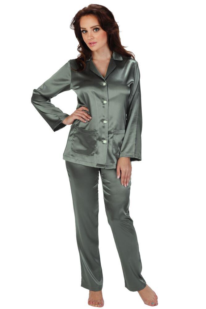 Dámské saténové pyžamo Classic dlouhé šedé velikost S