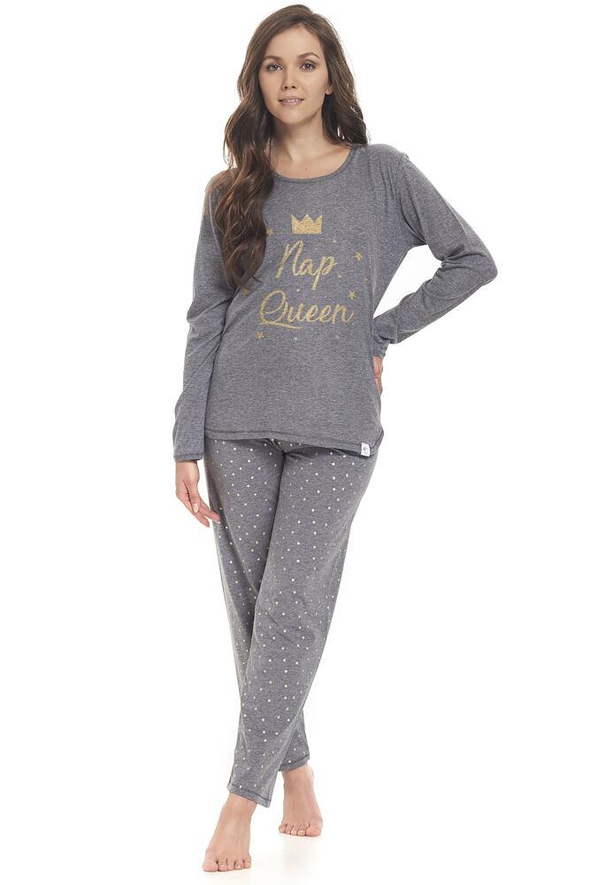 Dámské šedé pyžamo Nap Queen s puntíky velikost M