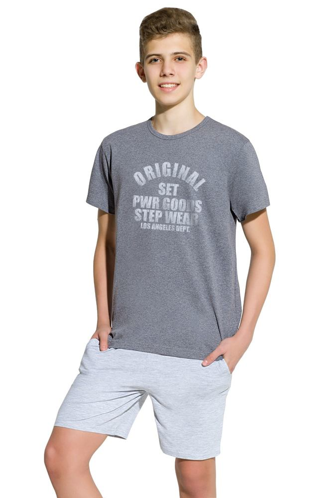 Chlapecké bavlněné pyžamo Karel tmavě šedé velikost 146