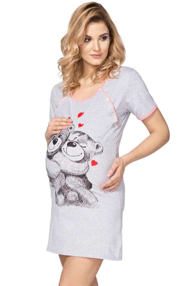Mateřská noční košile Teddy Bear šedá velikost M