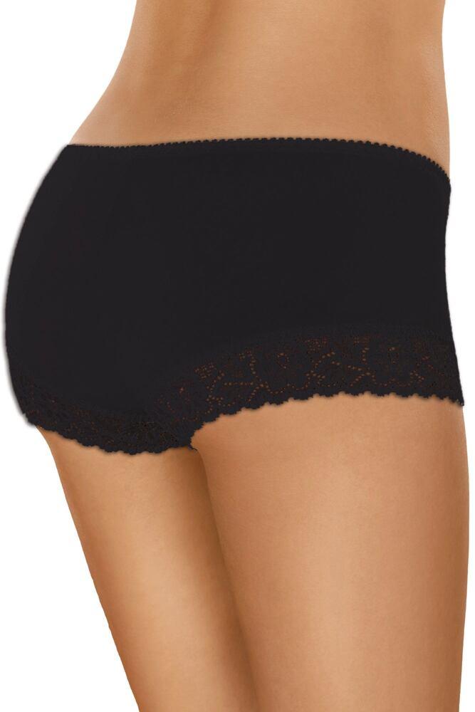 Bavlněné krajkové kalhotky s nohavičkou 55 černé velikost S