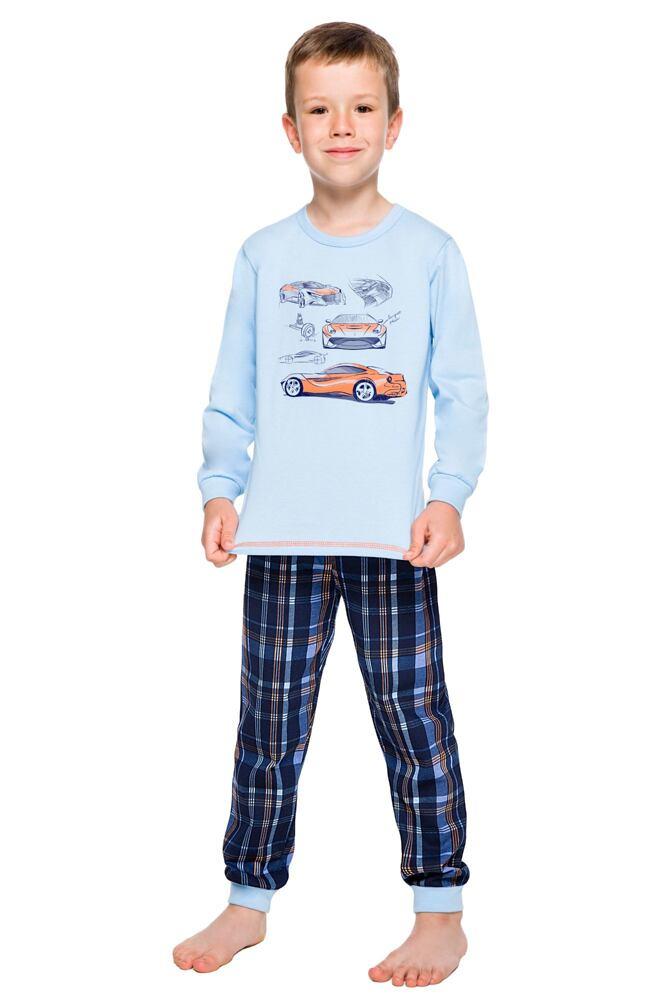 Chlapecké bavlněné pyžamo Maty modré s autem velikost 122