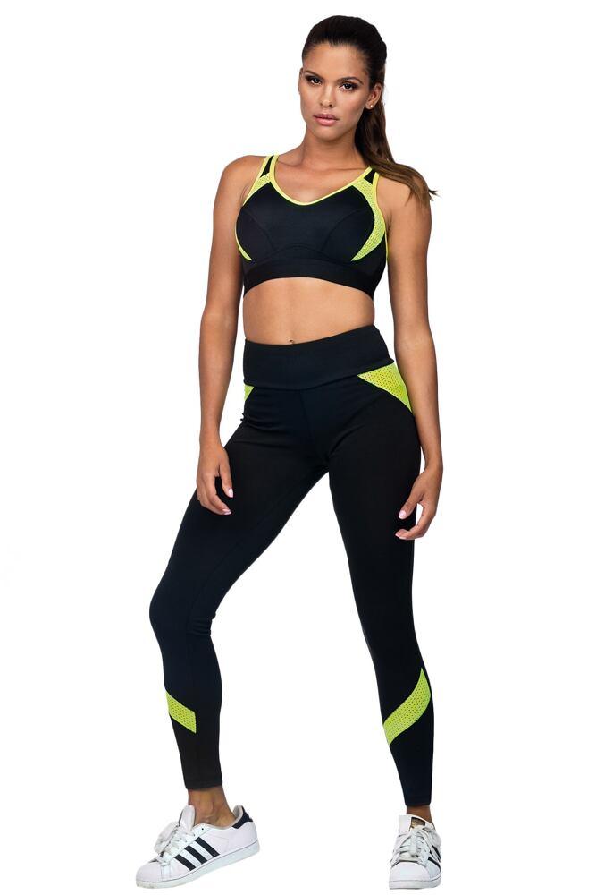Fitness legíny Suzanne černé žlutý neon velikost S
