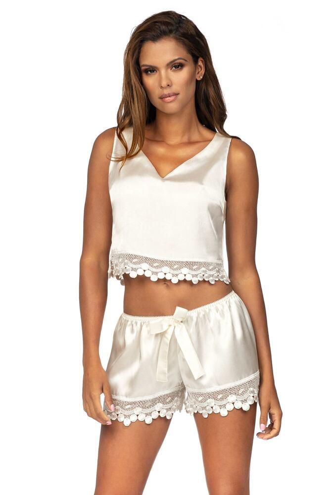 Luxusní saténové pyžamo Blanche ecru velikost S