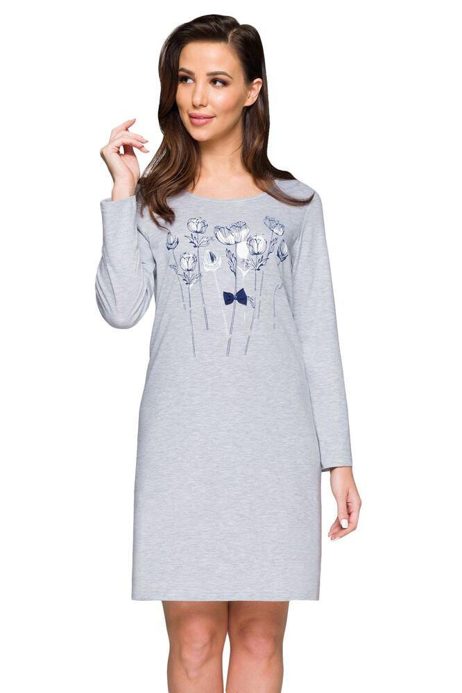 Bavlněná košilka Peggy šedá s květy velikost 3XL