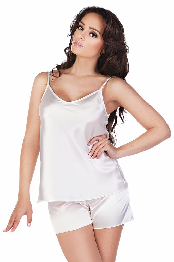 Dámské saténové pyžamo Classic bílé velikost S