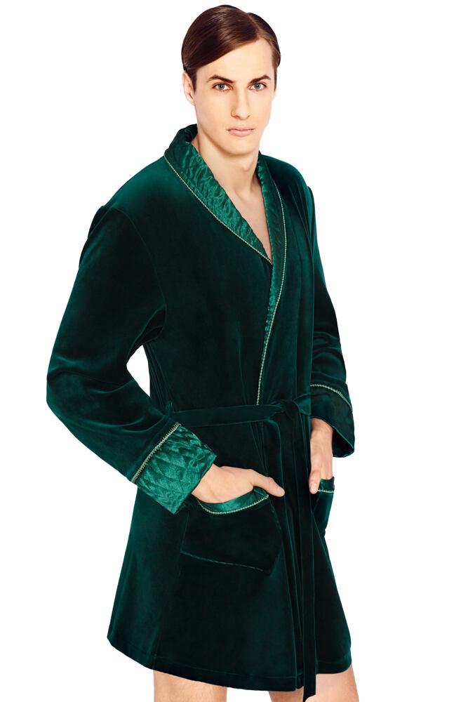 Luxusní pánský župan Bonjour temně zelený krátký velikost M
