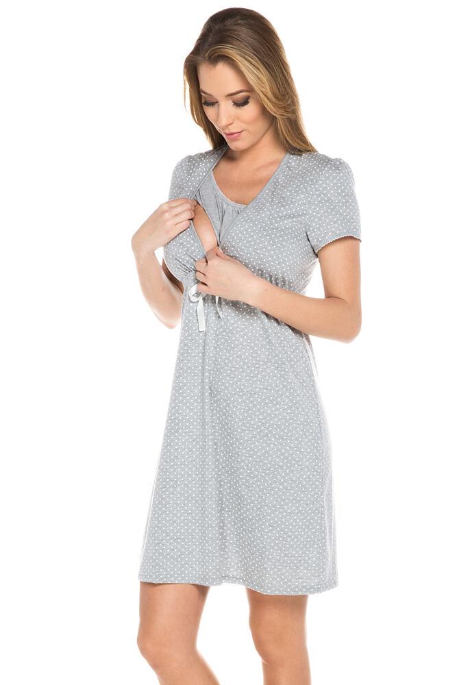 Bavlněná těhotenská noční košile Alena šedá velikost L