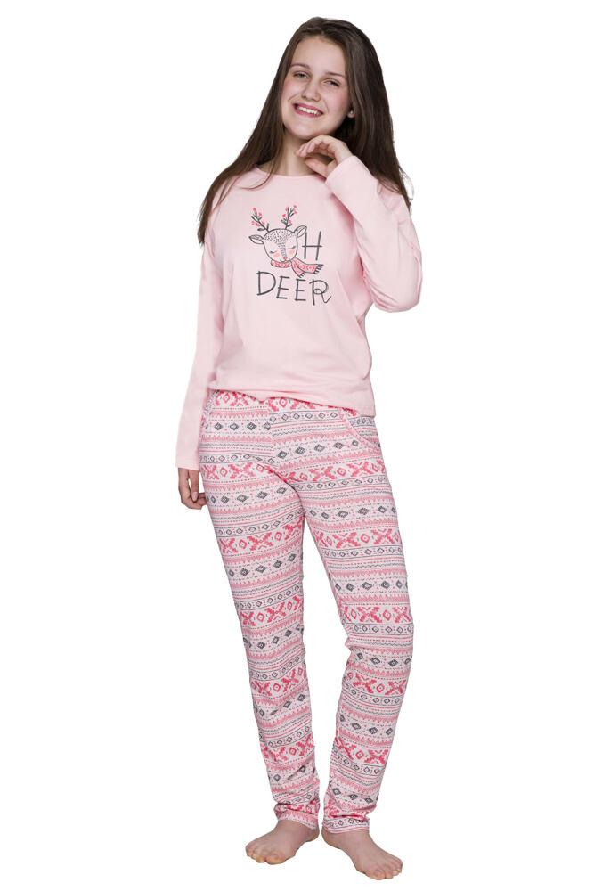 Dívčí vánoční pyžamo se sobem Sofia norský vzor velikost 152