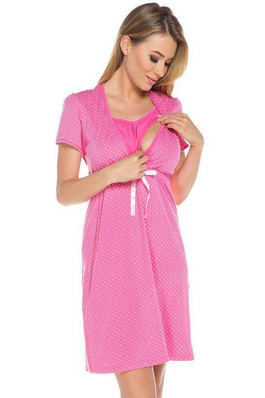 Bavlněná těhotenská noční košile Alena růžová velikost S
