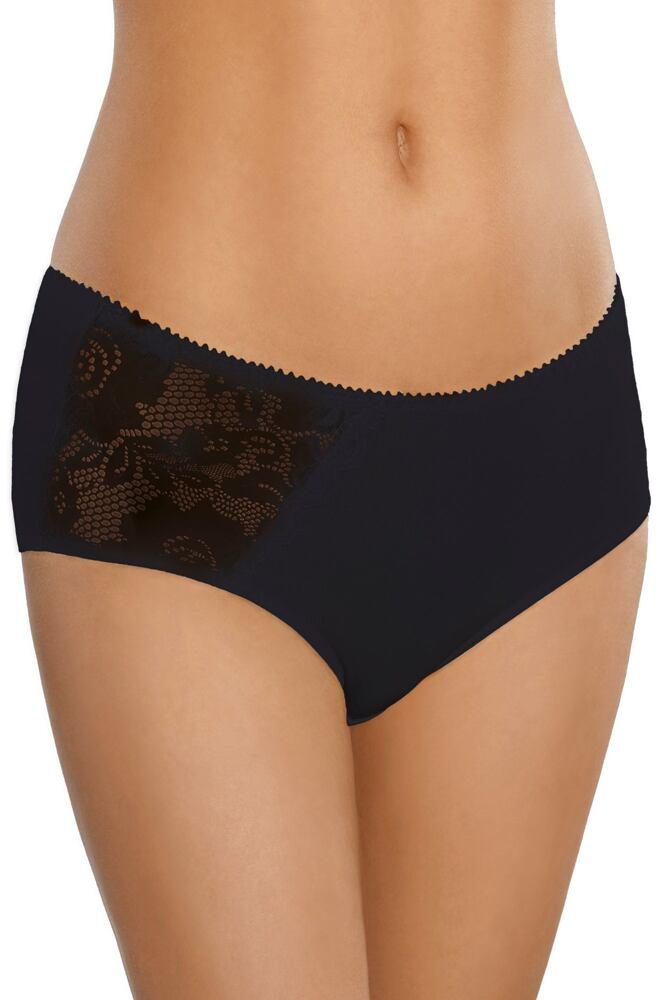 Bavlněné kalhotky s krajkou a vyšším pasem 100 černé velikost L