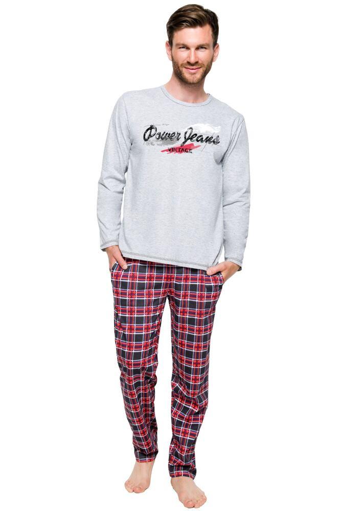 Pánské bavlněné pyžamo Marián šedé velikost XXL