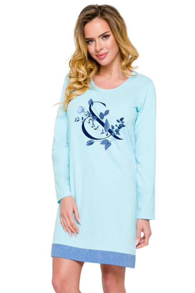 Bavlněná dámská noční košile Viva světle modrá velikost S