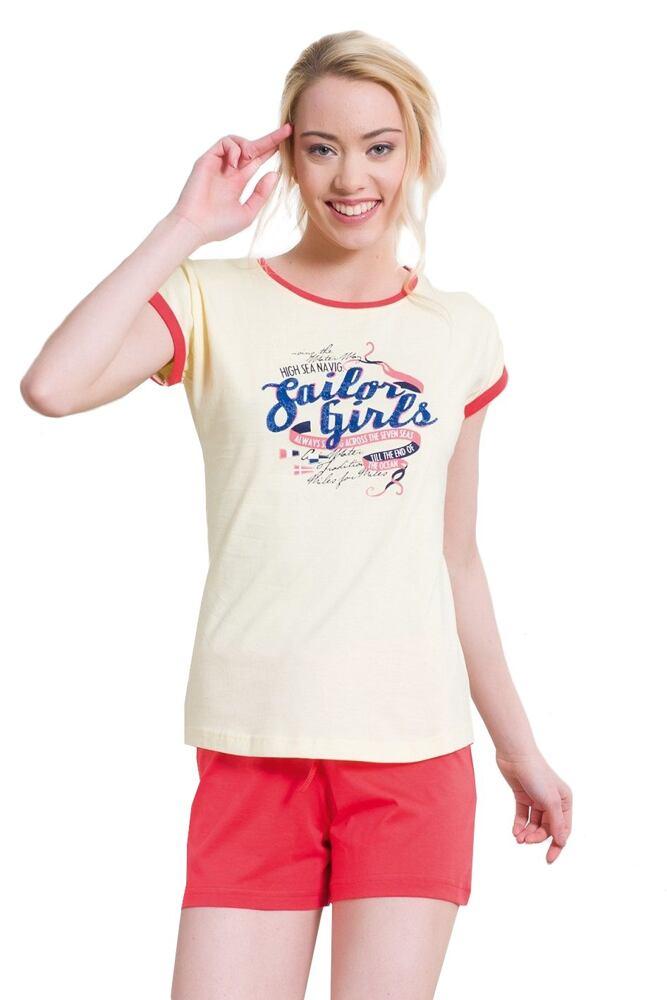 Krátké žluté bavlněné dámské pyžamo Julie velikost S