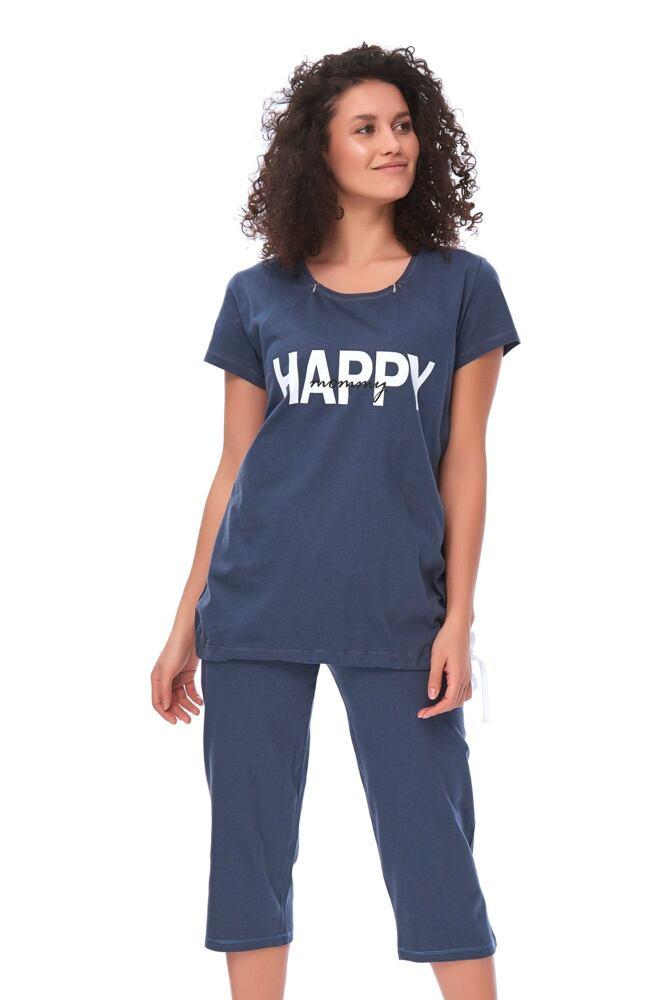 Mateřské pyžamo Happy mommy tmavě modré velikost S