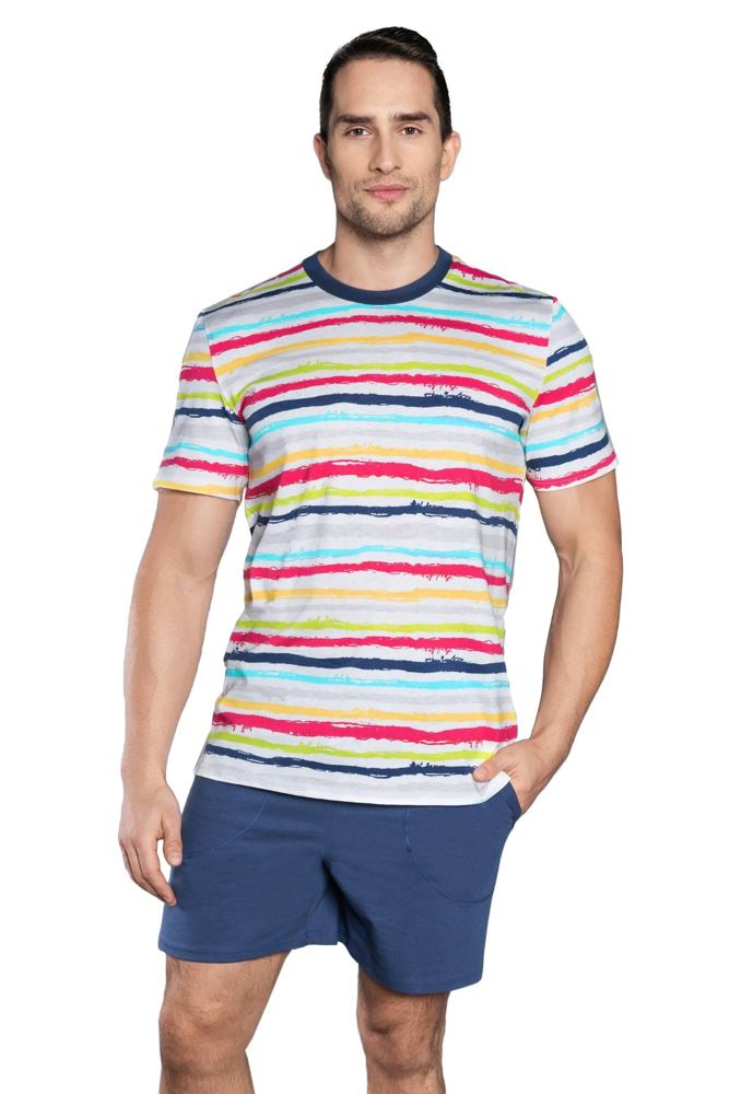 Pánské pyžamo Domino barevné pruhy velikost S