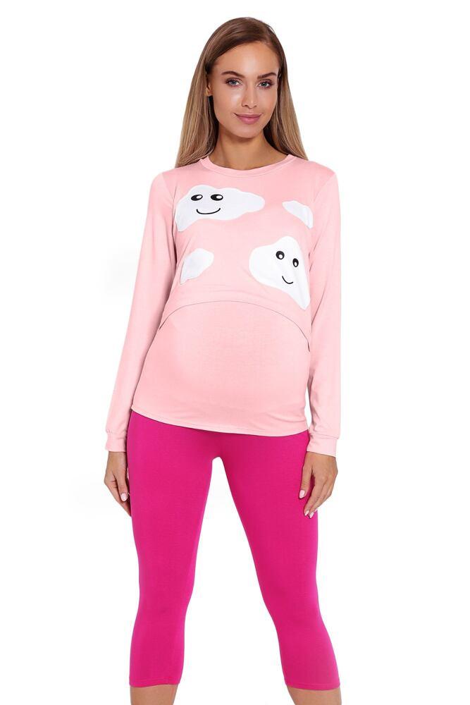 Kojicí a těhotenské pyžamo Melany růžové s obláčky velikost XXL