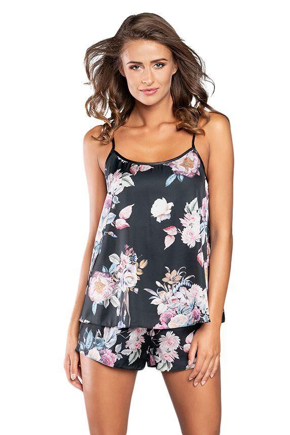 Saténové pyžamo Santorini černé s květy velikost M
