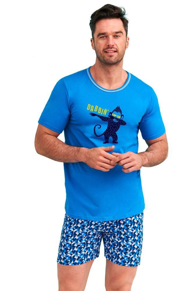 Pánské pyžamo Šimon modré opice velikost L