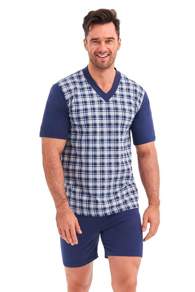 Pánské pyžamo Roman modrošedé káro velikost XL