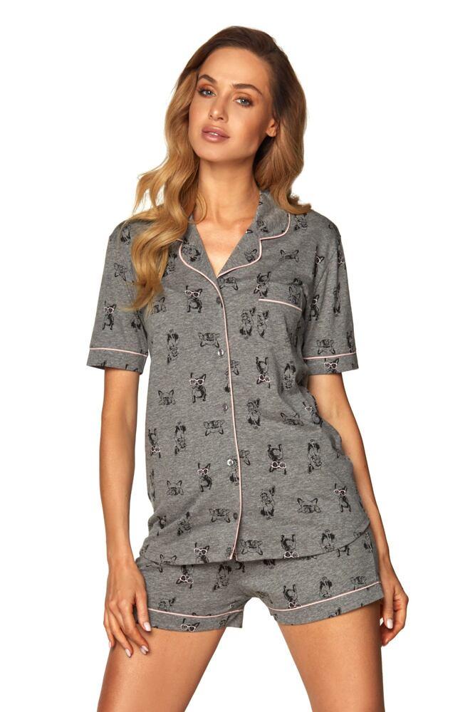 Dámské propínací pyžamo Corina šedé buldok velikost M