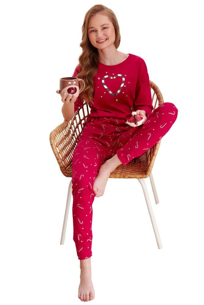 Dívčí pyžamo Olivia červené paličky velikost 146