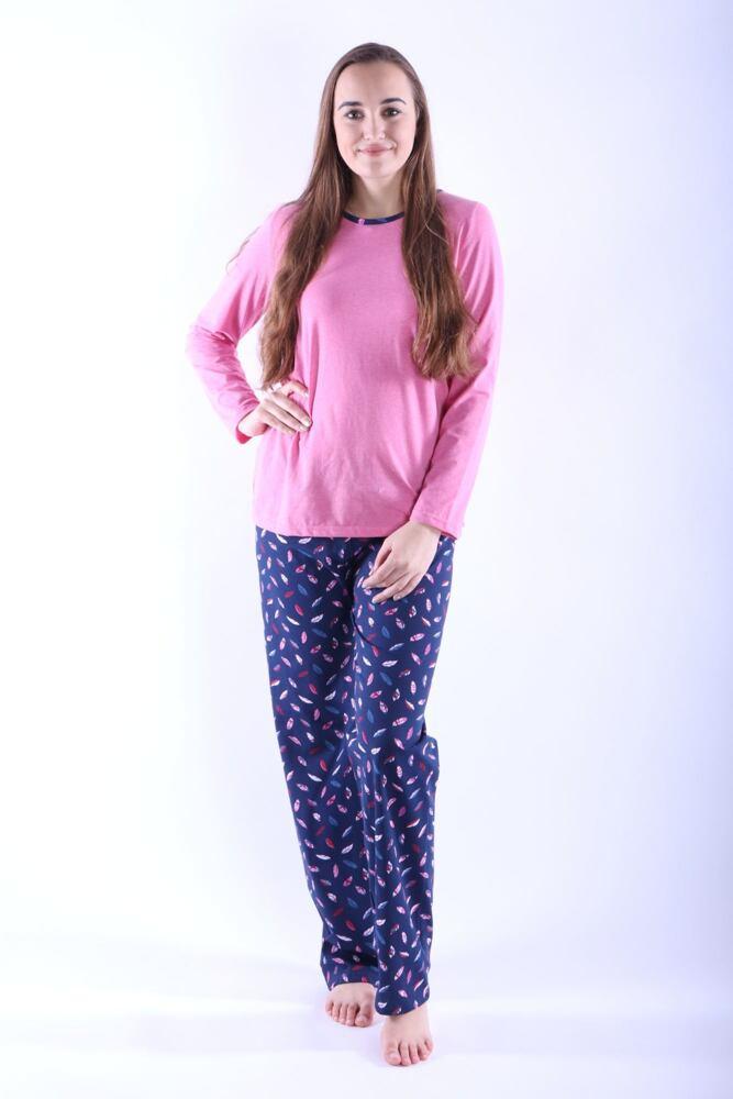 Dámské pyžamo Erika 1 růžové s peříčky velikost XL
