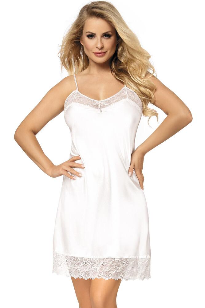 Saténová noční košilka Milla bílá velikost S