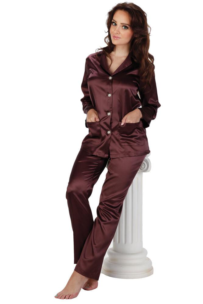 Dámské plum saténové pyžamo Classic dlouhé velikost S