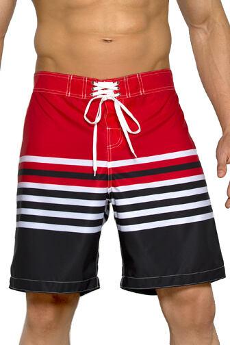 Plavkové bermudy Harry červeno-černé s  proužky velikost L