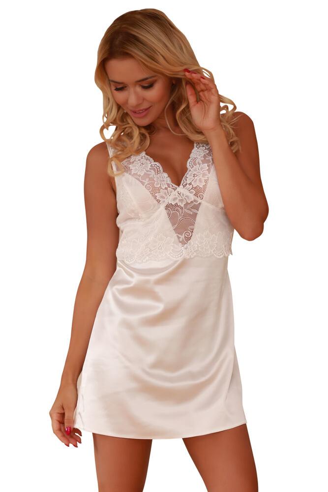 a6a1d66b070 Saténová noční košilka Merida bílá velikost XXL