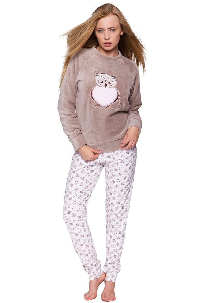 9863703e1 Dámské hřejivé soft pyžamo Sova béžové velikost M