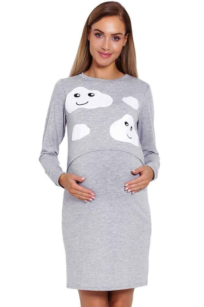 Mateřská noční košile Halle šedá s obláčky velikost S/M