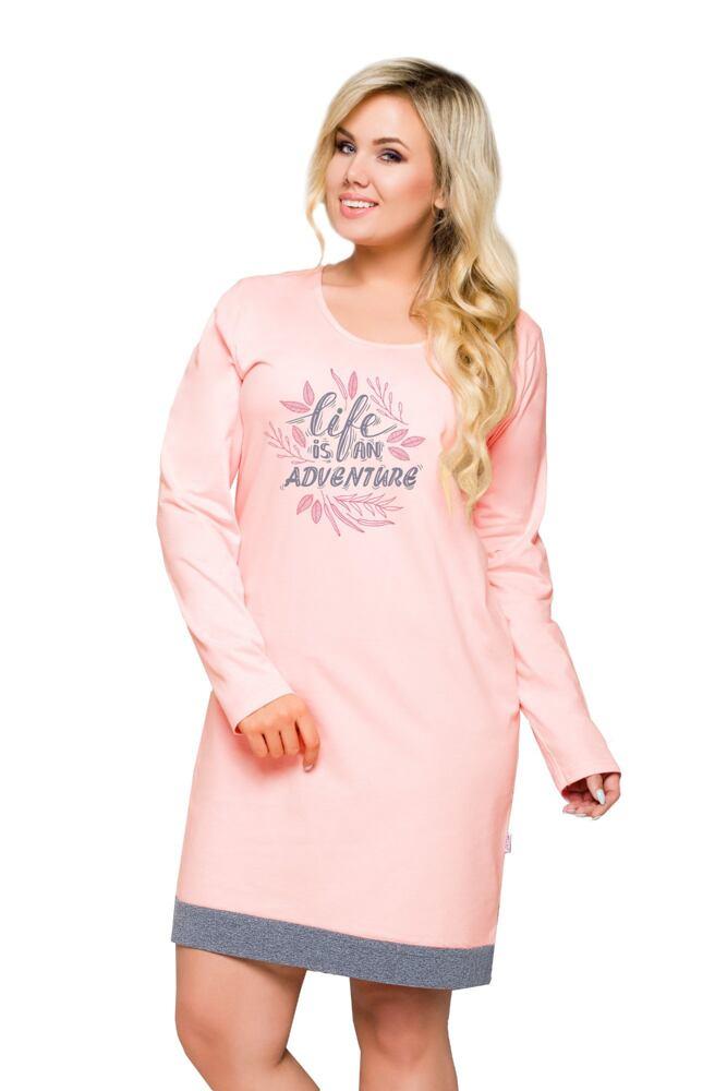 Dámská nadměrná bavlněná noční košile Viva růžová velikost 3XL