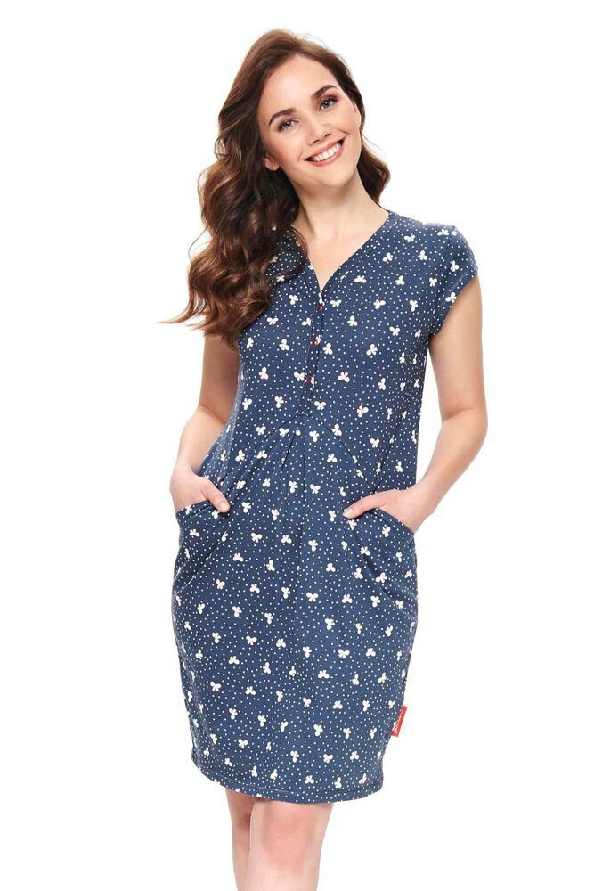 Kojicí noční košile Lesley modrá s mašličkami velikost XL