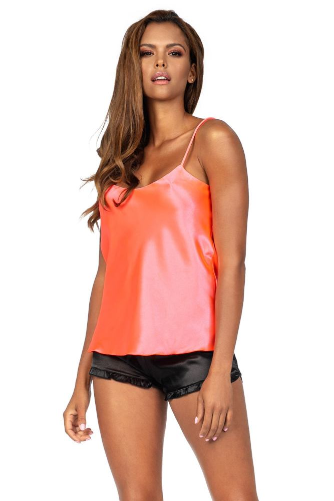 Saténové pyžamo Awa neonově růžová velikost S