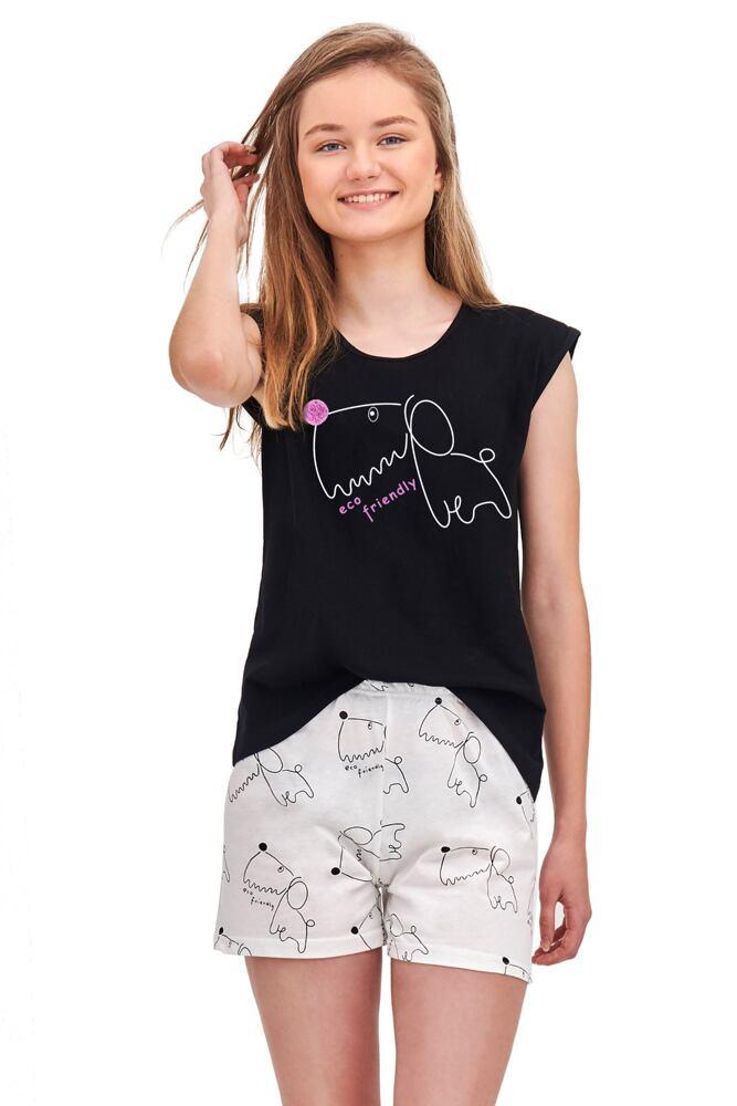 Dívčí pyžamo Eva černé Dog velikost 146