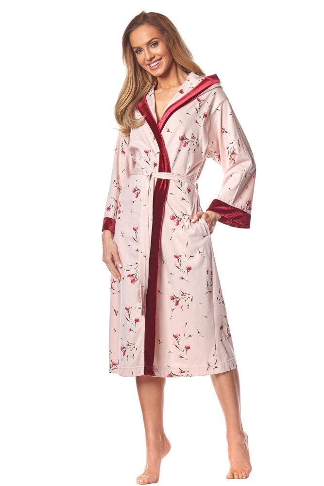 Dámský bavlněný župan Dora růžový s květy velikost M