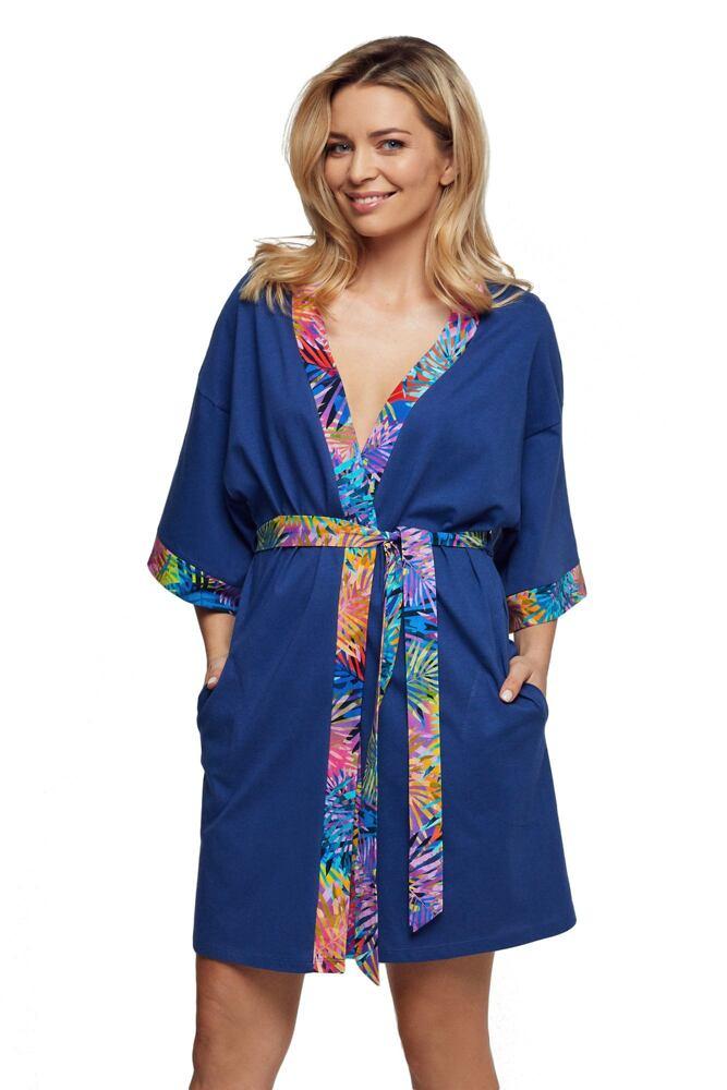 Luxusní bavlněný župan Arabela modrý velikost M