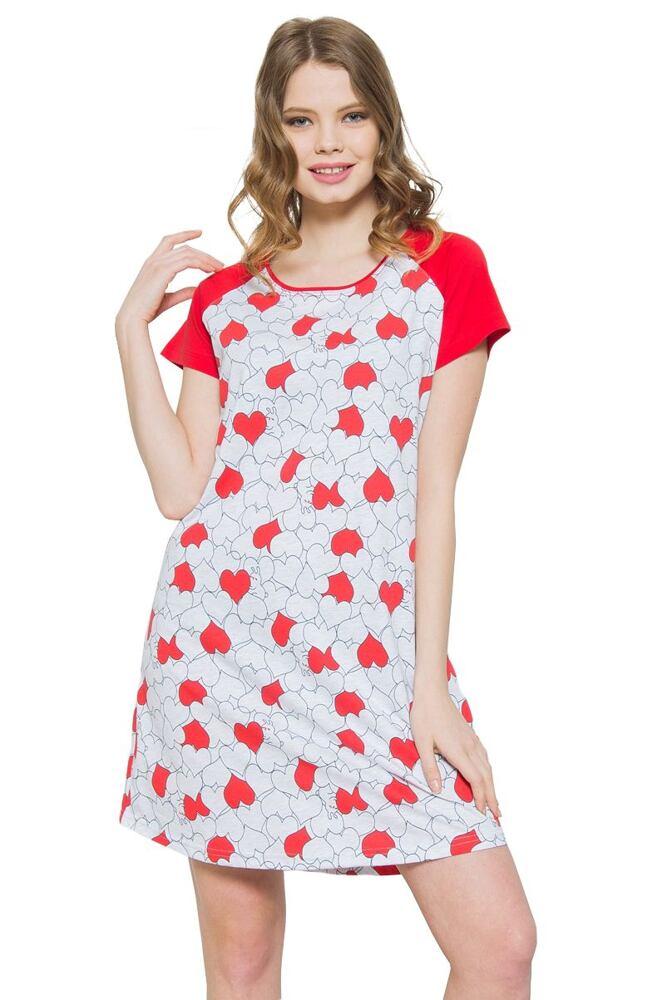 Noční košile Ina srdíčka červená velikost S