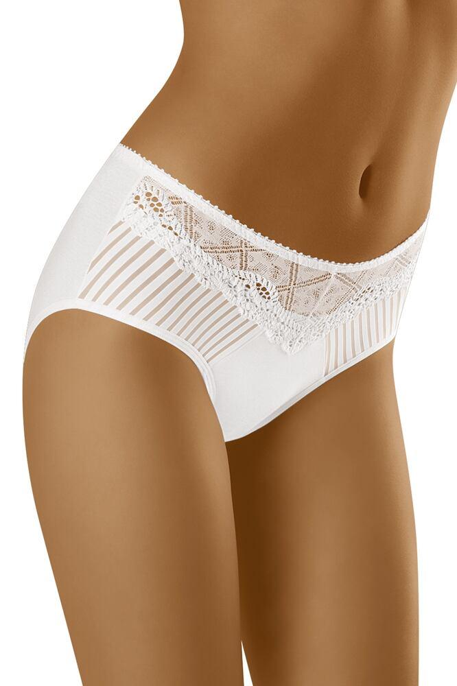 Dámské kalhotky s vyšším pásem a krajkou ECO-ZA bílé velikost M