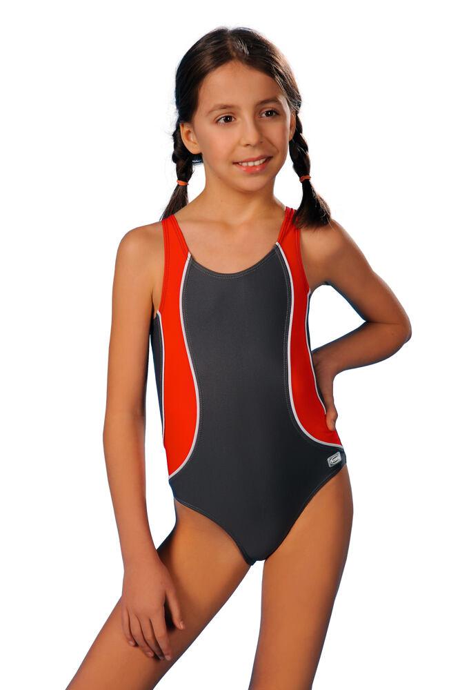Plavky dívčí Otýlie šedočervené velikost 116