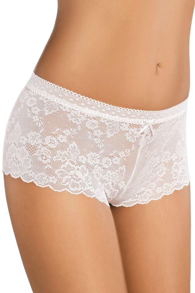Bavlněné krajkové nohavičkové kalhotky 150 bílé velikost S