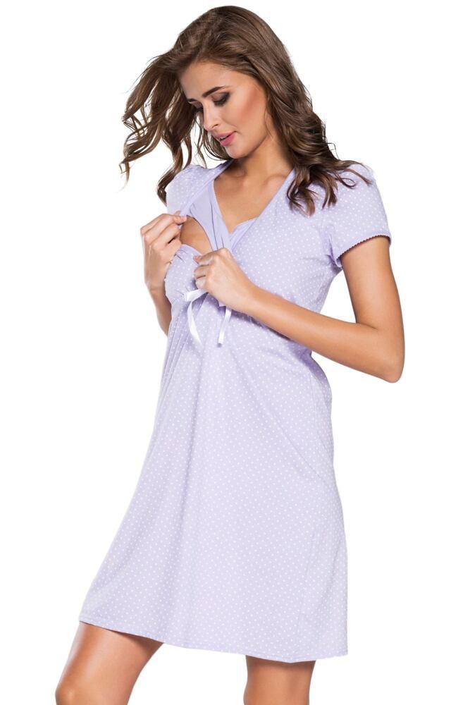 Bavlněná těhotenská noční košile Alena světle fialová velikost L
