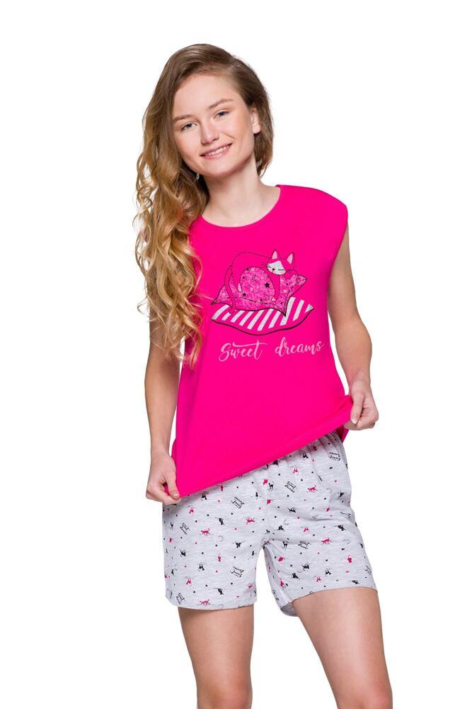 Dívčí pyžamo Eva růžové s kočkou velikost 146