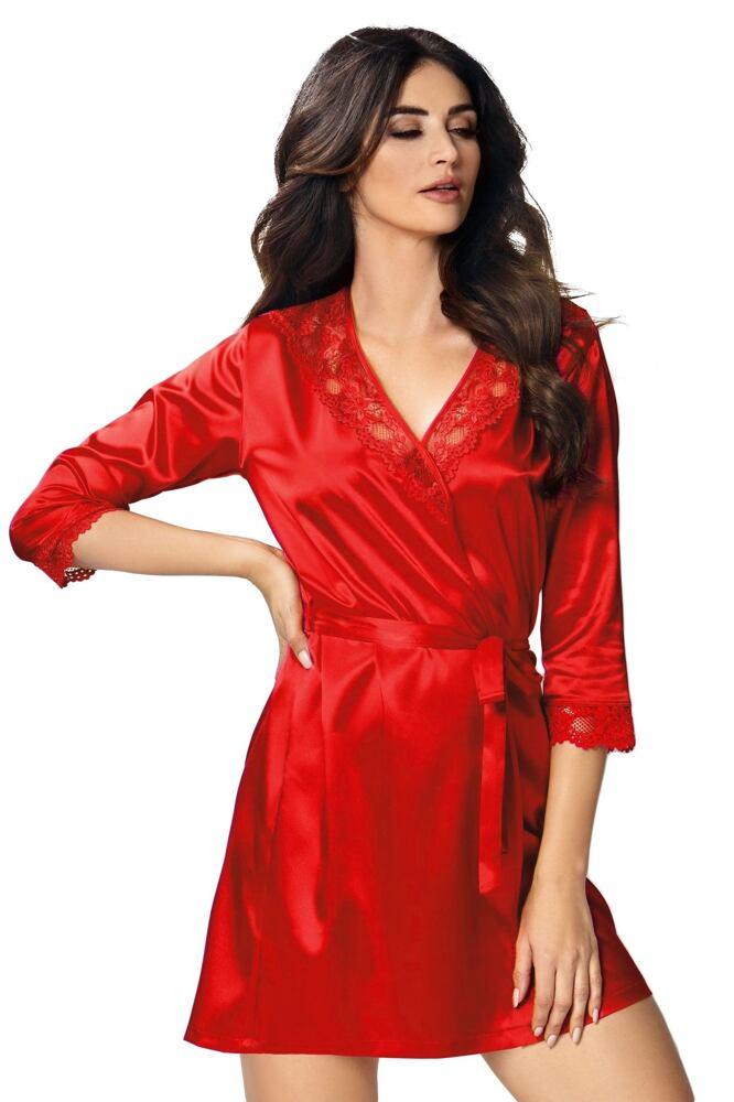 Luxusní saténový župan Venus červený velikost S